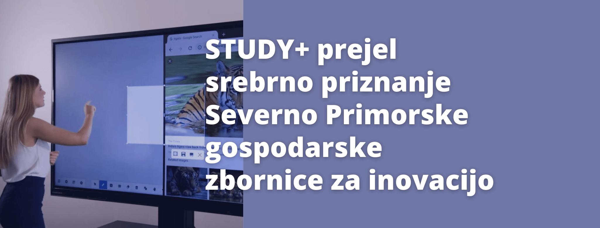 STUDY + PREJEL SREBRNO PRIZNANJE SEVERNO PRIMORSKE GOSPODARSKE ZBORNICE ZA INOVACIJO